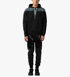 Marcelo Burlon Black/Green Alas Hoodie Model Picture