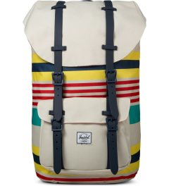 Herschel Supply Co. Malibu Stripe/Bone/Navy Rubber Little America Backpack Picutre