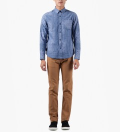 The Hundreds Navy Coast Button Up Woven Shirt Model Picture