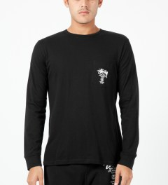 Stussy Black World Tour L/S Pocket T-Shirt Model Picture