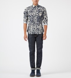 Carven Marine/Creme Printed Poplin Shirt Model Picture