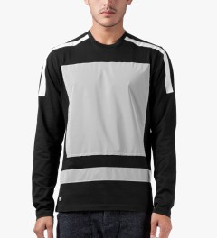 AMH Black Reflective Block Panel L/S T-Shirt Model Picture