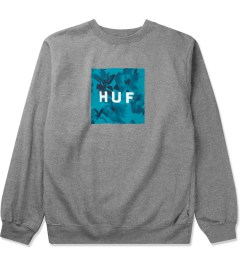 HUF Heather Grey Box Logo Fill Floral Crewneck Sweater Picture