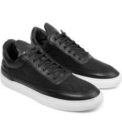 Filling Pieces TSA Woven Black Low Top Sneakers Model Picutre