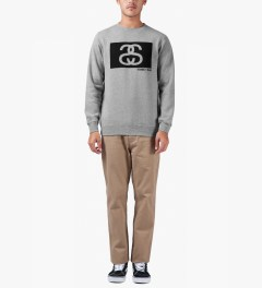 Stussy Heather Grey S/S Tribe Box Crew Sweater Model Picutre