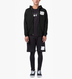 Undefeated Black Double 5 Strike App Zip Up Jacket Model Picutre