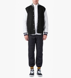 Mark McNairy Black Shirt Tail Varsity Jacket Model Picture