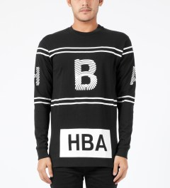 Hood By Air. Black Thumbprint Stripe L/S T-Shirt Model Picture