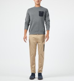 Penfield Grey Melange Coalmont Crewneck Sweater Model Picture
