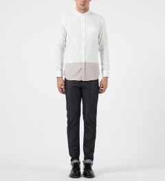 Liful White Colormixed Mandarin Collar Shirt Model Picture