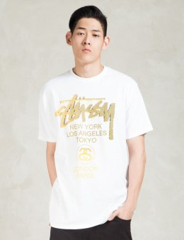 Stussy White WT Gold T-Shirt Picture