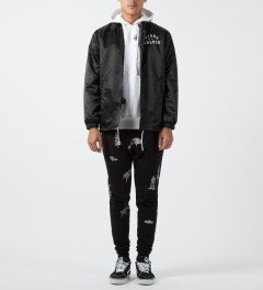Raised by Wolves Black College Coaches Jacket Model Picture