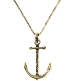 Icon Brand Burnished Gold Anchor Pendant with Matching Medium Cut Chain Necklace Picture