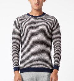 Band of Outsiders Blue Loop Stripe Sweater Model Picture