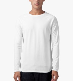 Reigning Champ White Solid Jersey L/S Raglan T-Shirt Model Picture