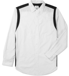 Shades of Grey by Micah Cohen White/Black Contrast Shoulder Panel Shirt Picture