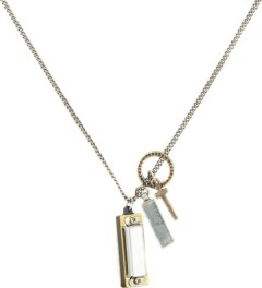 Icon Brand Ring, Cross, Rectangle & Harmonica on Chain Necklace Picture