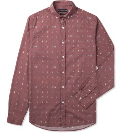 Commune De Paris Burgundy Exode Pattern Menand Shirt Picutre