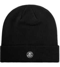 Stussy Black Stock Cuff Beanie Model Picutre