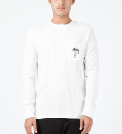 Stussy White World Tour L/S Pocket T-Shirt Model Picture