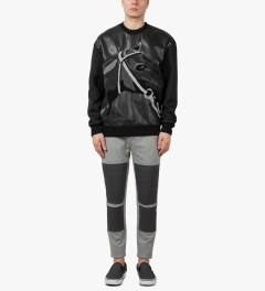 3.1 Phillip Lim Black Leather Front Panel and Horse Loop Embroidery Classic L/S Pullover Hoodie Model Picture