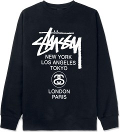 Stussy Navy World Tour Crewneck Sweater Picture