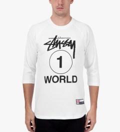 Stussy White One World Baseball T-Shirt Model Picutre