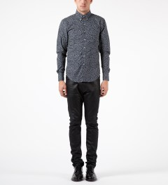Naked & Famous Navy British Flowers Regular Shirt Model Picture