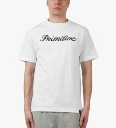 Primitive White Signature Script T-Shirt Model Picture