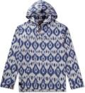 White Ikat Baja Poncho Pullover Jacket