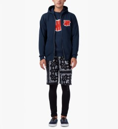 Undefeated Indigo Double 5 Strike App Zip Up Jacket Model Picutre