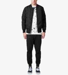 Stampd Black Strapped Bomber Jacket Model Picutre