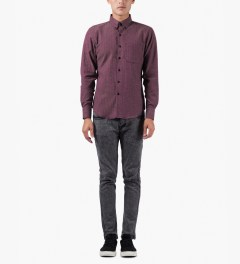 Naked & Famous Red/Blue Soft Herringbone Regular Shirt Model Picutre