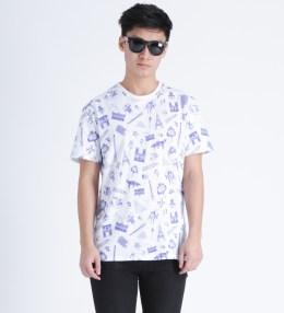 MAISON KITSUNE White/Navy Allover Map R-neck T-Shirt Picture
