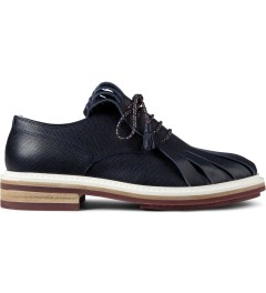 KRISVANASSCHE Navy Fringed Tongue Derby Shoes Picture