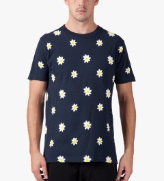 Mark McNairy Navy Daisy Print T-Shirt Model Picture