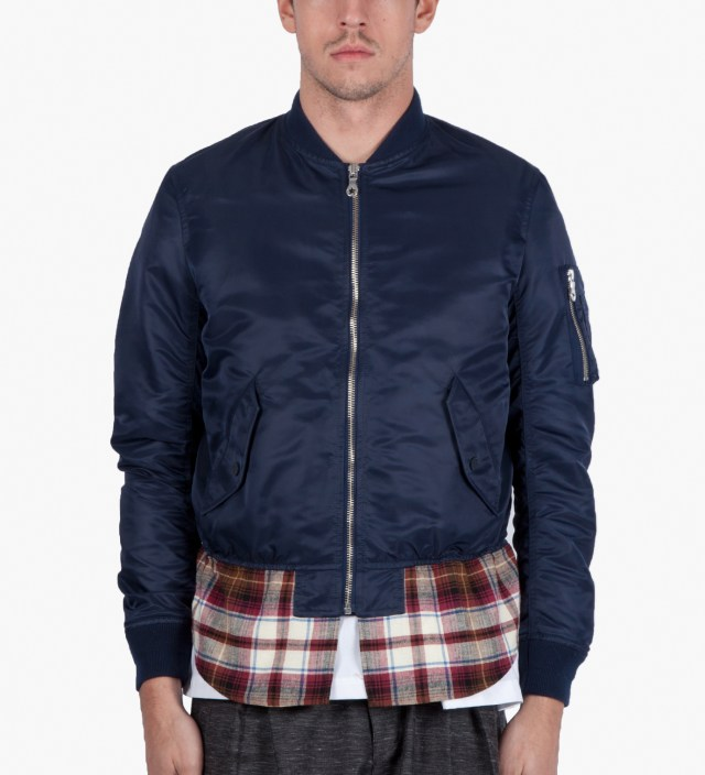 Navy Check Mix MA-1 Blouson Jacket