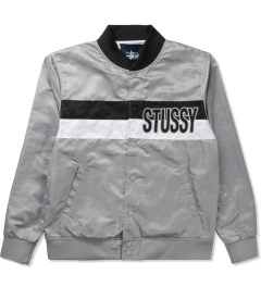Stussy Grey Satin Stripe Jacket Picutre