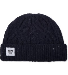 Wood Wood Navy Cable Beanie Picture