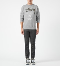 Stussy Heather Grey Camo App World Tour Crewneck Sweater Model Picture