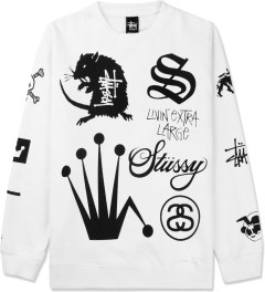 Stussy White Crown Collage Crewneck Sweater Picture