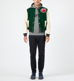 Maison Kitsune Green Ecru Music Teddy Jacket Model Picture
