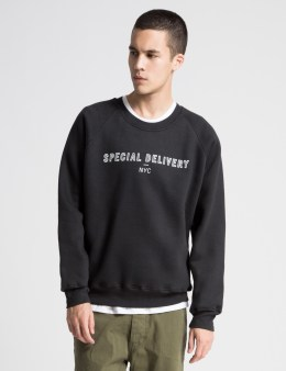 Special Delivery NYC Black Printed Fleece Sweater Picture