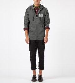 Benny Gold Charcoal BG Felt Zip Up Hoodie Model Picture