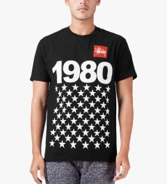 Stussy Black 1980 Stars T-Shirt Model Picture