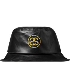 Stussy Black SS Link Leather Bucket Hat Picutre