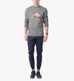 Odd Future Heather Grey Dolphin Donut Crewneck Sweater Model Picutre