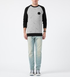 Us Versus Them Heather Grey Las Cruces Raglan Crewneck Sweater Model Picture