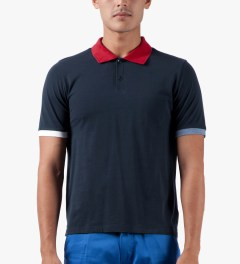 Band of Outsiders Navy Trap Pocket Polo Shirt Model Picture