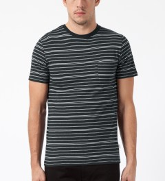 SATURDAYS Surf NYC Ash Heather Randall Pencil Stripe T-Shirt Model Picture